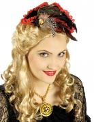 Mini Piratenhut für Damen Dreispitz rot-schwarz