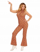 Sexy 70er Jahre Jumpsuit Damenkostüm Retro orange-gelb