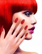 Künstliche Glitzer Fingernägel mit Klebstoff rot