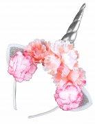 Einhorn Haarreif mit Blumen silber rosa