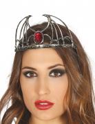 Vampir-Diadem Kopfschmuck für Halloween silber-rot