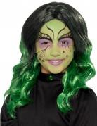 Stilvolle Hexenperücke für Kinder Halloween schwarz-grün