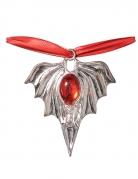 Vampir-Medaillon Kostümaccessoire Fledermaus rot-silber