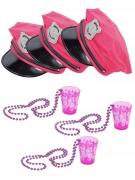 JGA-Partyset für Damen Polizeimützen und Shotgläser 6-teilig pink