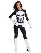 The Punisher™-Lizenzkostüm für Damen Halloween schwarz-grau