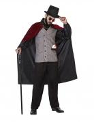 Edles Vampirkostüm für Herren Halloween-Verkleidung schwarz-rot