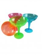 12 neonfarbene Margarita Cocktailgläser aus Kunststoff