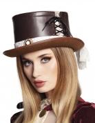 Eleganter Steampunk-Zylinder Kostüm-Accessoire für Damen mit Spitze braun