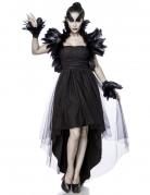 Düstere Krähe-Damenkostüm Deluxe mit Federn schwarz