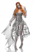 Deluxe Zombiebraut-Damenkostüm für Halloween grau