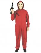 Bankräuber Kostüm mit Kapuze für Erwachsene rot-schwarz