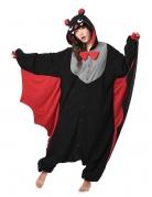 Kigurumi™-Fledermaus-Kostüm für Erwachsene schwarz-grau-rot