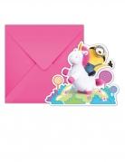 Minions™-Einladungskarte mit Einhorn 6 Stück bunt 11x10cm
