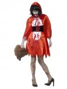 Horror-Rotkäppchen Halloween-Kostüm für Damen rot-weiss-schwarz